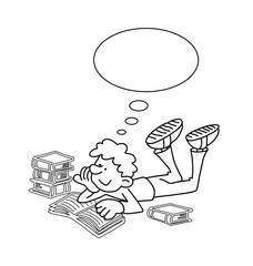 Monochrome outline cartoon boy reading