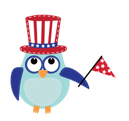Owl wearing a patriotic uncle sams hat holding a flag