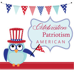 Owl wearing patriotic uncle sams hat holding a flag