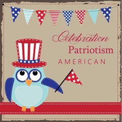 Owl wearing patriotic uncle sams hat
