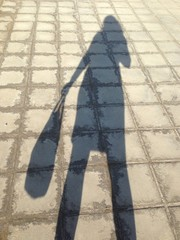 Тень девушки с сумкой