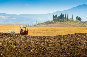 Country house on a hill in Crete Senesi Tuscany