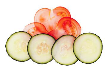 Tomaten- und Gurkenscheiben