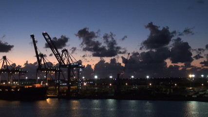 Freeport - Industrial Port In The Night - Container Terminal