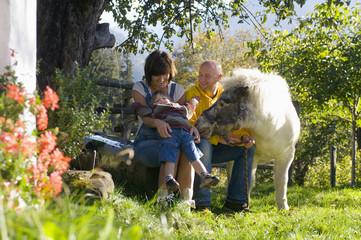 Eltern mit Kind sitzt im Garten , spielen mit Pony