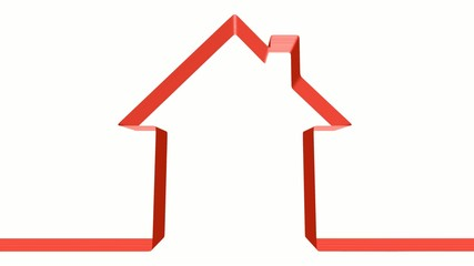 Red ribbon in the shape of house