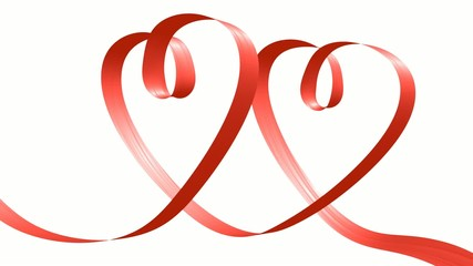 Red ribbon in the shape of two hearts