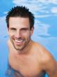 canvas print picture - Mann im Schwimmbad,Porträt