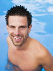 Mann im Schwimmbad,Porträt