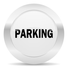 parking silver glossy web icon