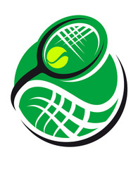 Tennis ball and racquet icon