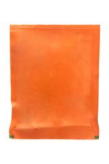 Orange sachet on white background