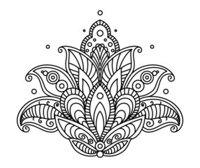 Pretty ornate paisley flower design element