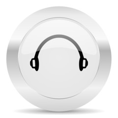 headphones silver glossy web icon
