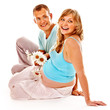 Pregnant woman with man .