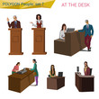 Polygonal style people standing, sitting at the desk set