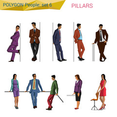Polygonal style business and casual people at pillar set