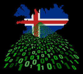 Iceland map flag with binary foreground illustration