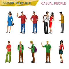 Polygonal style casual people set