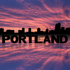 Portland skyline reflected with text and sunset illustration