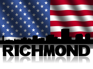 Richmond skyline text reflected American flag illustration