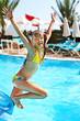 Leinwanddruck Bild - Child jump in  swimming  pool.