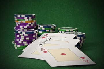 poker cards, games and objects of betting and casinos