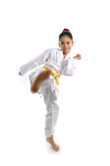 sweet latin little karate girl¡ training kick and attack