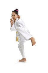 sweet latin little karate kid girl kick training attack