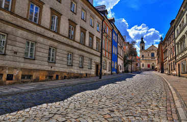 Street of the old town in Warsaw. Street Mostowa