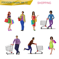 Polygon style people shopping set. Polygon world collection.