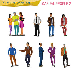 Polygonal style casual people set. Polygon people collection.