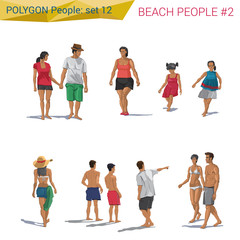Polygonal style beach people walking set