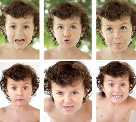 Sequence of a adorable boy grimacing