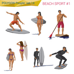 Polygonal style beach water sports people set