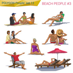 Polygonal style beach people resting set