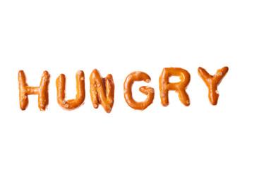 Alphabet pretzel written word HUNGRY isolated