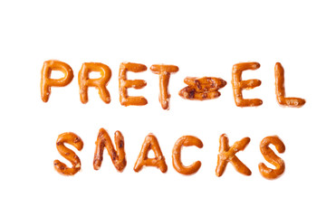 Alphabet pretzel written words PRETZEL SNACKS isolated