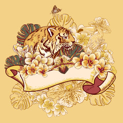 Tropical Exotic Floral Card with Toucan and Tiger