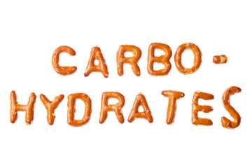 Alphabet pretzel written word CARBOHYDRATES isolated
