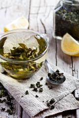 cup of green tea and lemon