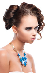 Glamour portrait of beautiful woman model with hairstyle