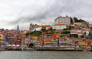 Buildings at Douro river embankment in Porto city