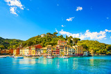 Portofino luxury village landmark, panorama view. Liguria, Italy - 65214247