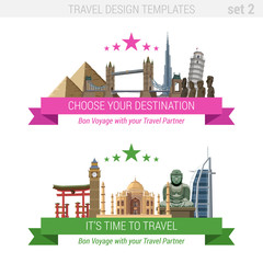 Tourism adventure vacation vector set. Travel design template.