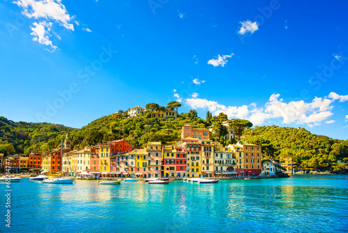 Portofino luxury village landmark, panorama view. Liguria, Italy