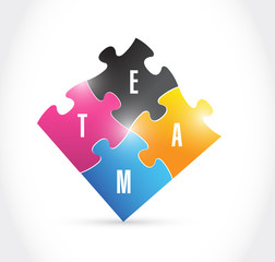 team puzzle pieces illustration design
