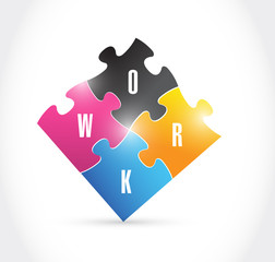 work puzzle illustration design