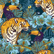 Tropical floral seamless background with Tiger - 65214645