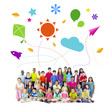 Group of Multiethnic Cheerful Children Childhood Activities